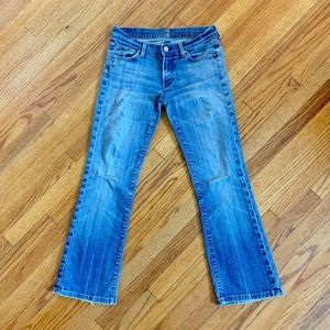 7 For All Mankind Distressed Bootcut Stretch Jeans
